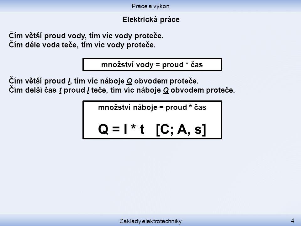 Dejme dohromady vzorečky pro práci a pro náboj: Práce a výkon Základy elektrotechniky 5 množství náboje = proud * čas Q = I * t [C; A, s] množství práce = náboj * napětí W = Q * U [J; C, V]