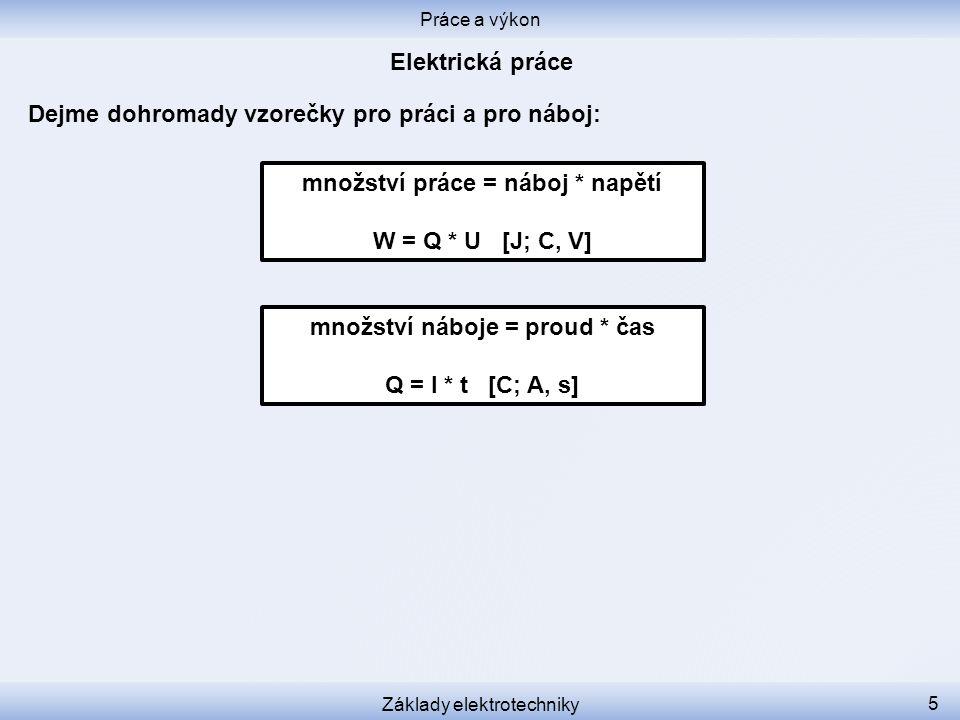 Dejme dohromady vzorečky pro práci a pro náboj: Práce a výkon Základy elektrotechniky 6 Q = I * t [C, A, s] W = Q * U [J, C, V] W = U * I * t [J, V, A, s] W = I * t * U Jen přerovnáme: Čím větší napětí, čím větší proud, čím delší čas, tím víc práce se vykoná.