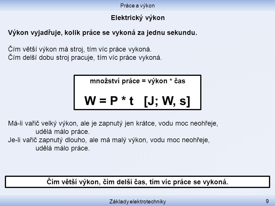 W = U * I * t [J, V, A, s] Porovnejme předchozí dva vzorečky pro práci: Práce a výkon Základy elektrotechniky 10 Čím větší napětí, čím větší proud, tím větší výkon.