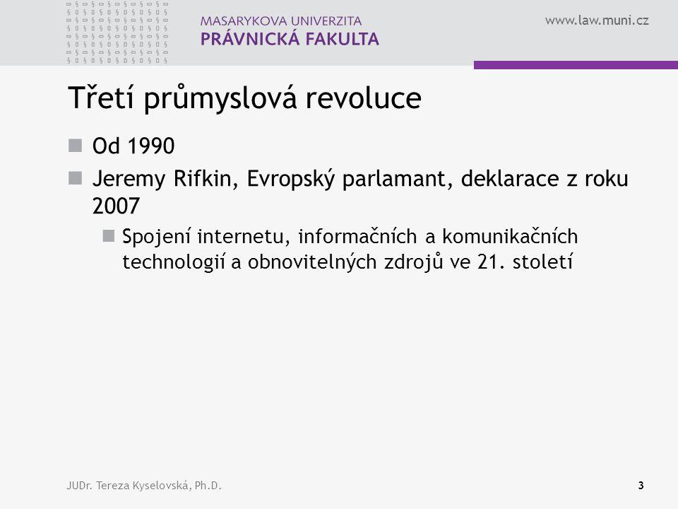 www.law.muni.cz Třetí průmyslová revoluce Od 1990 Jeremy Rifkin, Evropský parlamant, deklarace z roku 2007 Spojení internetu, informačních a komunikačních technologií a obnovitelných zdrojů ve 21.