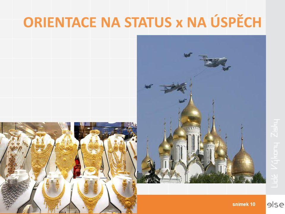 ORIENTACE NA STATUS x NA ÚSPĚCH Kulturní odlišnosti v businessusnímek 10