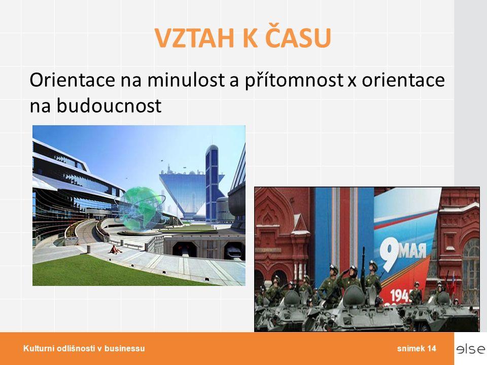 VZTAH K ČASU Orientace na minulost a přítomnost x orientace na budoucnost Kulturní odlišnosti v businessusnímek 14