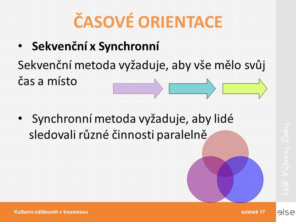 ČASOVÉ ORIENTACE Sekvenční x Synchronní Sekvenční metoda vyžaduje, aby vše mělo svůj čas a místo Synchronní metoda vyžaduje, aby lidé sledovali různé činnosti paralelně Kulturní odlišnosti v businessusnímek 17