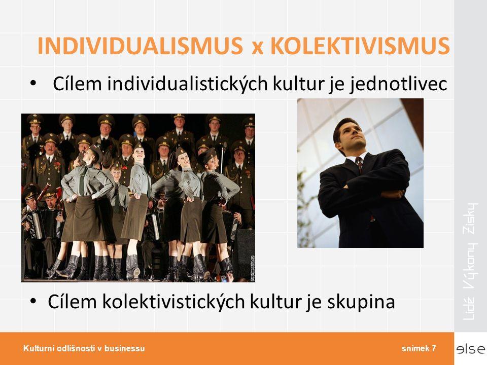 INDIVIDUALISMUS x KOLEKTIVISMUS Cílem individualistických kultur je jednotlivec Cílem kolektivistických kultur je skupina Kulturní odlišnosti v businessusnímek 7