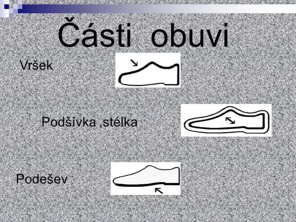 Vršek Podšívka,stélka Podešev Části obuvi