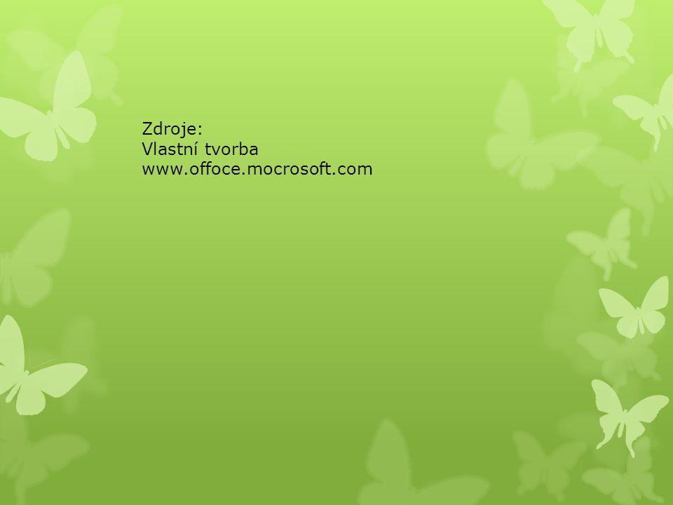 Zdroje: Vlastní tvorba www.offoce.mocrosoft.com