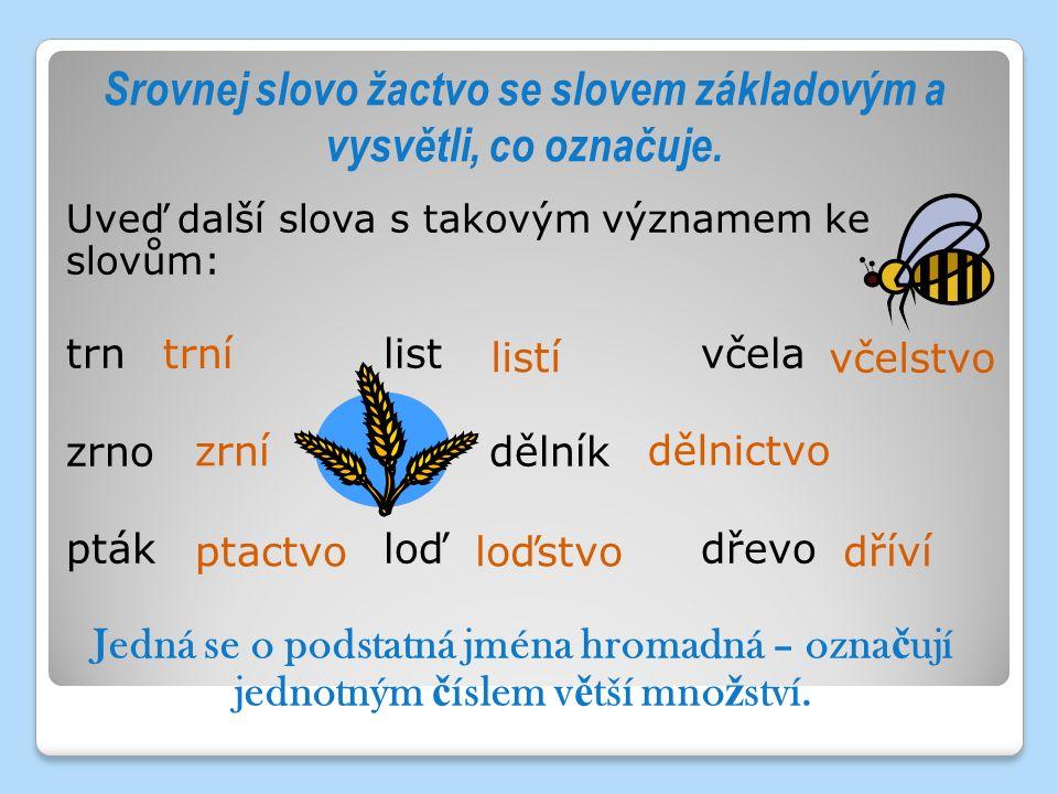 Srovnej slovo žactvo se slovem základovým a vysvětli, co označuje. Uveď další slova s takovým významem ke slovům: trnlistvčela zrnodělník ptákloďdřevo