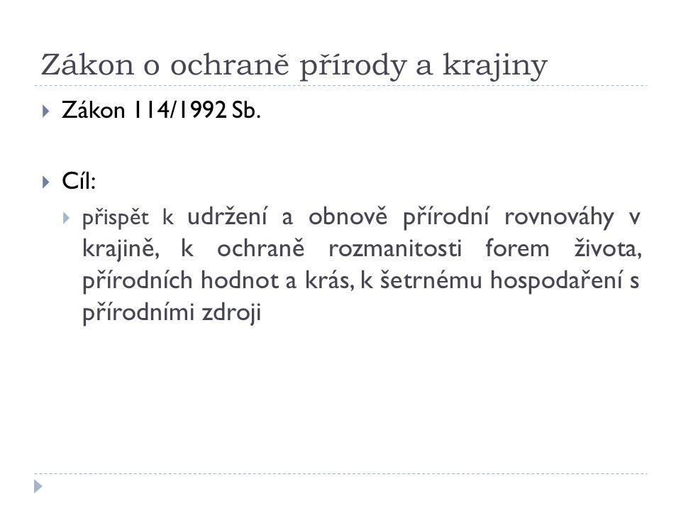 Zákon o ochraně přírody a krajiny  Zákon 114/1992 Sb.