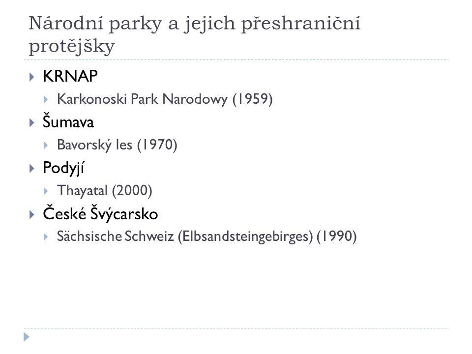 Národní parky a jejich přeshraniční protějšky  KRNAP  Karkonoski Park Narodowy (1959)  Šumava  Bavorský les (1970)  Podyjí  Thayatal (2000)  České Švýcarsko  Sächsische Schweiz (Elbsandsteingebirges) (1990)