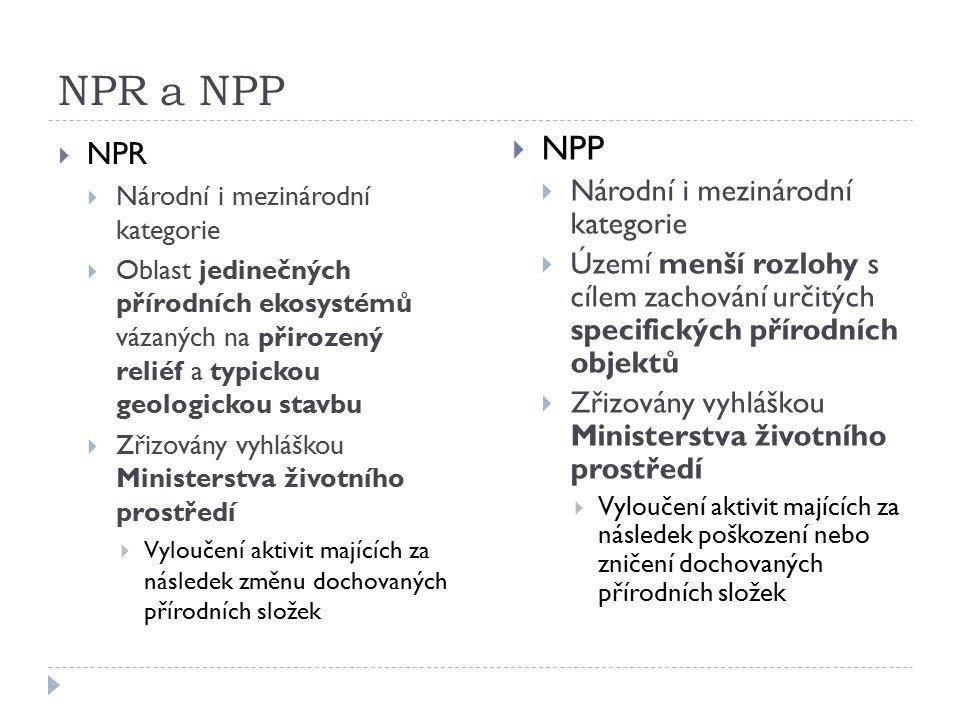NPR a NPP  NPR  Národní i mezinárodní kategorie  Oblast jedinečných přírodních ekosystémů vázaných na přirozený reliéf a typickou geologickou stavbu  Zřizovány vyhláškou Ministerstva životního prostředí  Vyloučení aktivit majících za následek změnu dochovaných přírodních složek  NPP  Národní i mezinárodní kategorie  Území menší rozlohy s cílem zachování určitých specifických přírodních objektů  Zřizovány vyhláškou Ministerstva životního prostředí  Vyloučení aktivit majících za následek poškození nebo zničení dochovaných přírodních složek