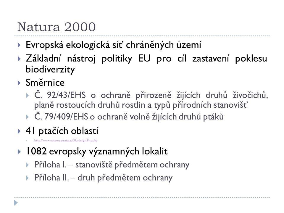Natura 2000  Evropská ekologická síť chráněných území  Základní nástroj politiky EU pro cíl zastavení poklesu biodiverzity  Směrnice  Č.