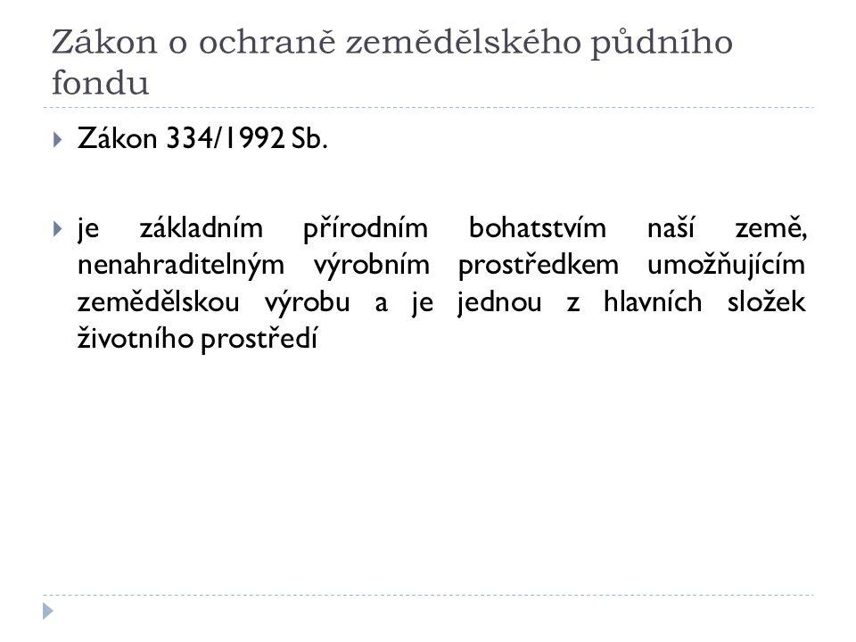 Zákon o ochraně zemědělského půdního fondu  Zákon 334/1992 Sb.
