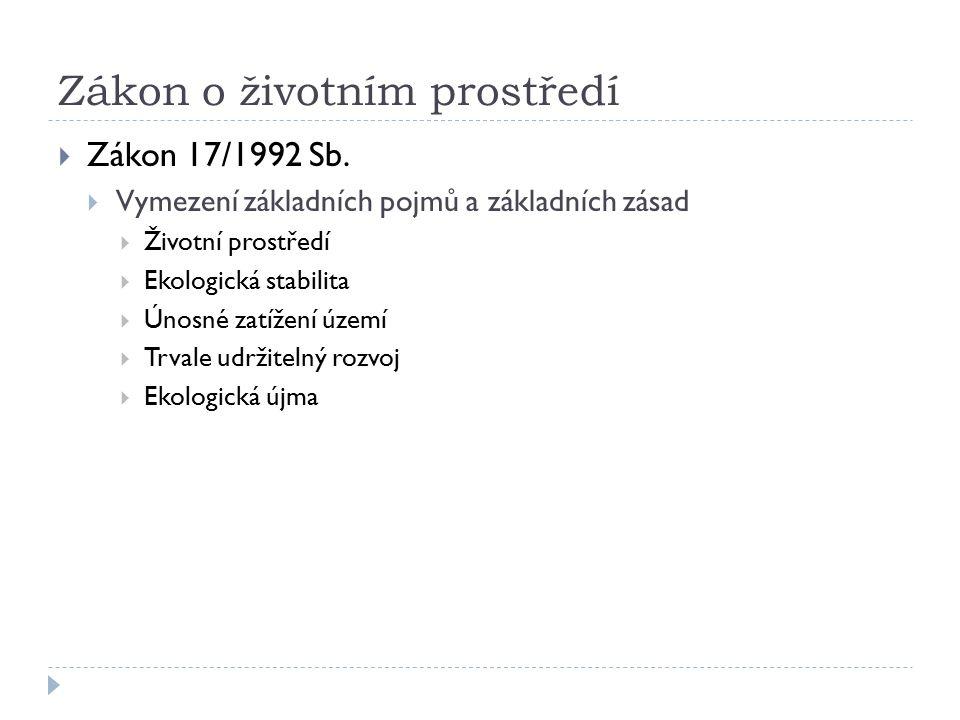 Zákon o životním prostředí  Zákon 17/1992 Sb.