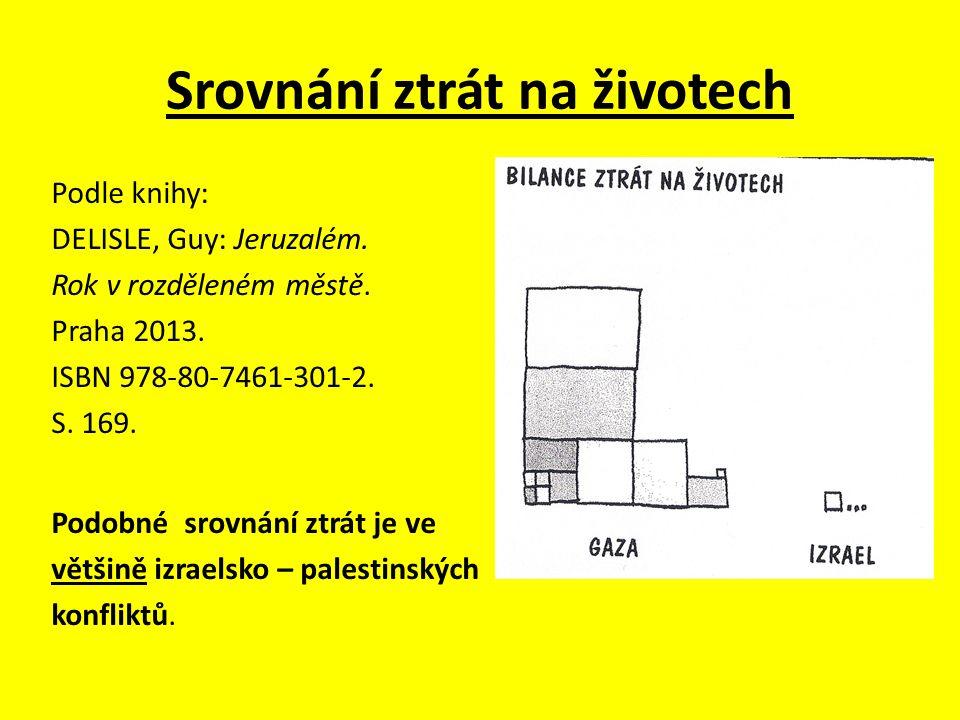 Srovnání ztrát na životech Podle knihy: DELISLE, Guy: Jeruzalém. Rok v rozděleném městě. Praha 2013. ISBN 978-80-7461-301-2. S. 169. Podobné srovnání