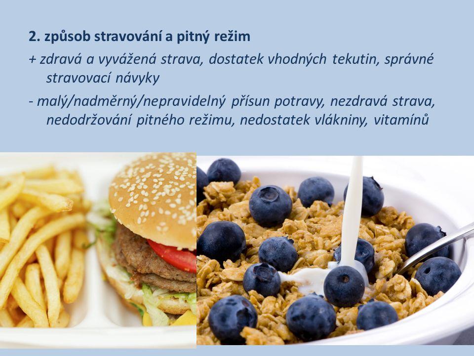2. způsob stravování a pitný režim + zdravá a vyvážená strava, dostatek vhodných tekutin, správné stravovací návyky - malý/nadměrný/nepravidelný přísu