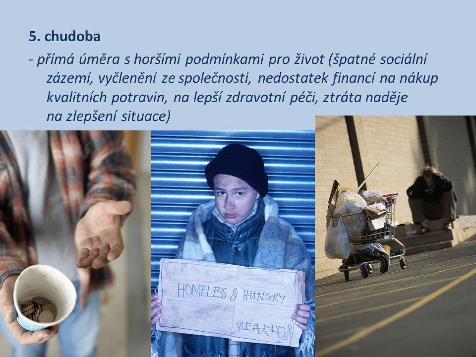 5. chudoba - přímá úměra s horšími podmínkami pro život (špatné sociální zázemí, vyčlenění ze společnosti, nedostatek financí na nákup kvalitních potr