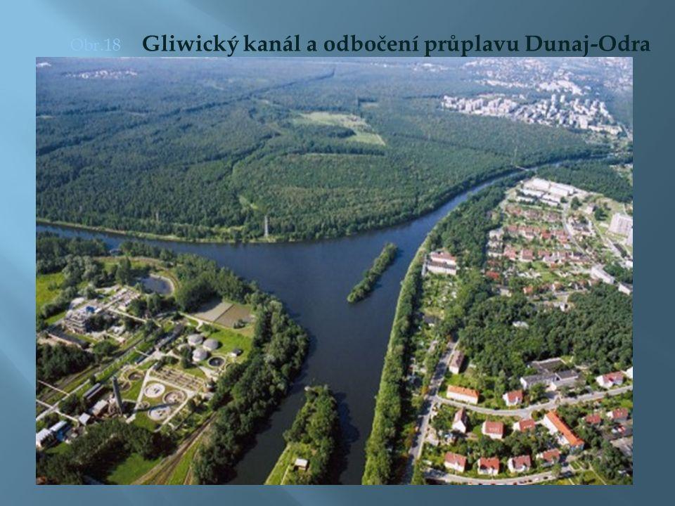 Obr.18 Gliwický kanál a odbočení průplavu Dunaj-Odra