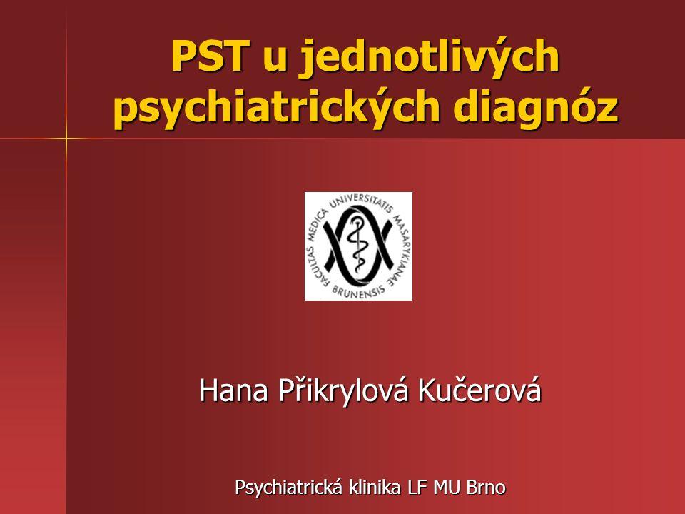 PST u F30-39 (Afektivní poruchy) - nejčastěji se ve fázi přípravy na běžný život používají metody KBT -přecvičování nežádoucího chování, změna myšlení a postojů, rozšíření repertoáru adaptivního chování (imitace pozitivních vzorů, uplatnění toho, co se pacient naučil v terapii v běžné situaci pomocí domácích úkolů,…) - terapeut se především zaměřuje na aktuální situaci nemocného, dává důraz na to, že jeho stav je jen přechodně zhoršený - většina odborníků je toho názoru, že u depresí není žádná forma PST kontraindikací, citlivé PST vedení má vždy smysl!!!
