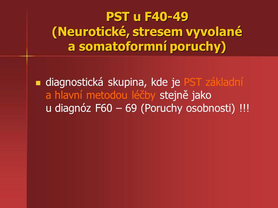 PST u F40-49 (Neurotické, stresem vyvolané a somatoformní poruchy) diagnostická skupina, kde je PST základní a hlavní metodou léčby stejně jako u diagnóz F60 – 69 (Poruchy osobnosti) !!!