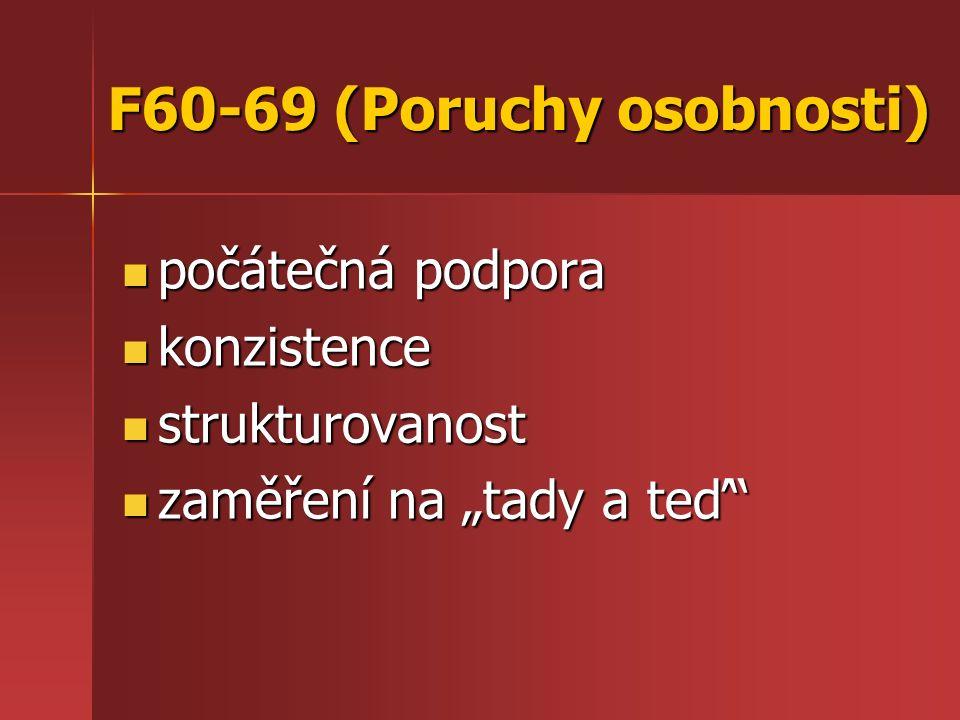 """F60-69 (Poruchy osobnosti) počátečná podpora počátečná podpora konzistence konzistence strukturovanost strukturovanost zaměření na """"tady a teď zaměření na """"tady a teď"""
