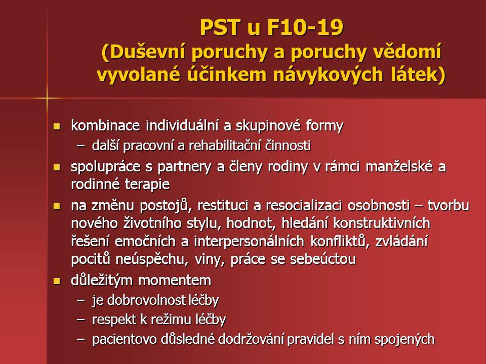 PST u F10-19 (Duševní poruchy a poruchy vědomí vyvolané účinkem návykových látek) socioterapeutické kluby, svépomocné skupiny a terapeutické komunity, umístěné mimo městské aglomerace socioterapeutické kluby, svépomocné skupiny a terapeutické komunity, umístěné mimo městské aglomerace terapeutická komunita: nutný je aktivní přístup pacienta, jasná a konkrétní pravidla pobytu, účinnost je často přímo závislá na délce pobytu (od 3-4 měsíců až po rok i déle) a není vhodná pro všechny závislé terapeutická komunita: nutný je aktivní přístup pacienta, jasná a konkrétní pravidla pobytu, účinnost je často přímo závislá na délce pobytu (od 3-4 měsíců až po rok i déle) a není vhodná pro všechny závislé KBT techniky: semafor (červená – zastavit, uvažovat, oranžová – zvážit možnosti, zelená – rozhodnout se a vyhodnotit výsledek), třístupňová obrana - analýza řetězců myšlenek, spouštěčů, chování vedoucí k bažení (craving), recidivě a debaklu (nové upadnutí do závislosti) a přerušení těchto řetězců KBT techniky: semafor (červená – zastavit, uvažovat, oranžová – zvážit možnosti, zelená – rozhodnout se a vyhodnotit výsledek), třístupňová obrana - analýza řetězců myšlenek, spouštěčů, chování vedoucí k bažení (craving), recidivě a debaklu (nové upadnutí do závislosti) a přerušení těchto řetězců rodinná terapie: řešení problémů týkajících se pseudoindividuace, triangulace (koalice pacienta s jedním s rodičů) a tzv.