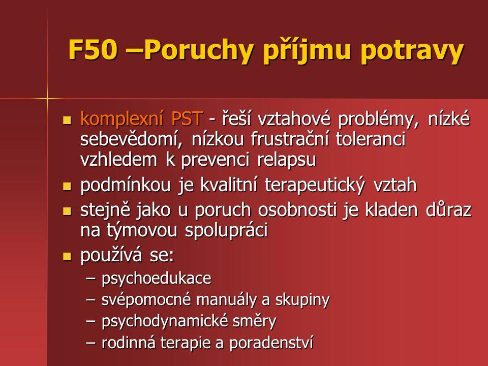F50 –Poruchy příjmu potravy komplexní PST - řeší vztahové problémy, nízké sebevědomí, nízkou frustrační toleranci vzhledem k prevenci relapsu komplexní PST - řeší vztahové problémy, nízké sebevědomí, nízkou frustrační toleranci vzhledem k prevenci relapsu podmínkou je kvalitní terapeutický vztah podmínkou je kvalitní terapeutický vztah stejně jako u poruch osobnosti je kladen důraz na týmovou spolupráci stejně jako u poruch osobnosti je kladen důraz na týmovou spolupráci používá se: používá se: –psychoedukace –svépomocné manuály a skupiny –psychodynamické směry –rodinná terapie a poradenství