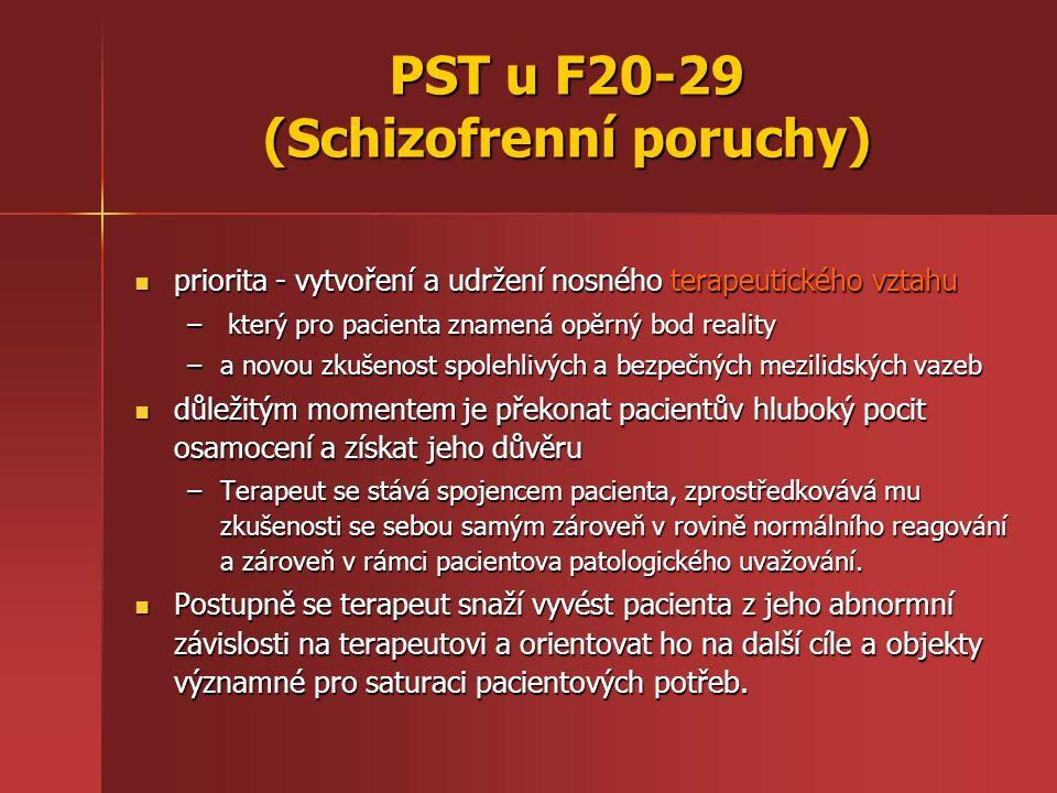 PST u F20-29 (Schizofrenní poruchy) priorita - vytvoření a udržení nosného terapeutického vztahu priorita - vytvoření a udržení nosného terapeutického vztahu – který pro pacienta znamená opěrný bod reality –a novou zkušenost spolehlivých a bezpečných mezilidských vazeb důležitým momentem je překonat pacientův hluboký pocit osamocení a získat jeho důvěru důležitým momentem je překonat pacientův hluboký pocit osamocení a získat jeho důvěru –Terapeut se stává spojencem pacienta, zprostředkovává mu zkušenosti se sebou samým zároveň v rovině normálního reagování a zároveň v rámci pacientova patologického uvažování.