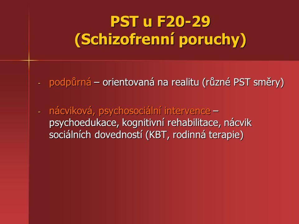"""PST u F40-49 (Neurotické, stresem vyvolané a somatoformní poruchy) FÓBICKÉ PORUCHY - - racionální PST – obdobně jako u úzkostných poruch - - empatický přístup a náhledová terapie se rovněž v přístupu neliší od PST jiných neurotických poruch - - hypnóza – série hypnotických sezení se sugescemi indiferentního postoje ke zdroji fobie, sugesce pocitu klidu a bezpečí - - obdobně nácvik relaxace a autogenní trénink – autosugesce """"při vystoupení jsem klidný a jistý (u trémy) - - KBT – zde nejúčinnější forma PST Kognitivními prvky PST jsou: edukace (výklad vzniku poruchy), kognitivní rekonstrukce (odhalení automatických myšlenek, doprovodných emocí, chování tělesných reakcí a jejich důsledků), postupná expozice obávaným situacím."""