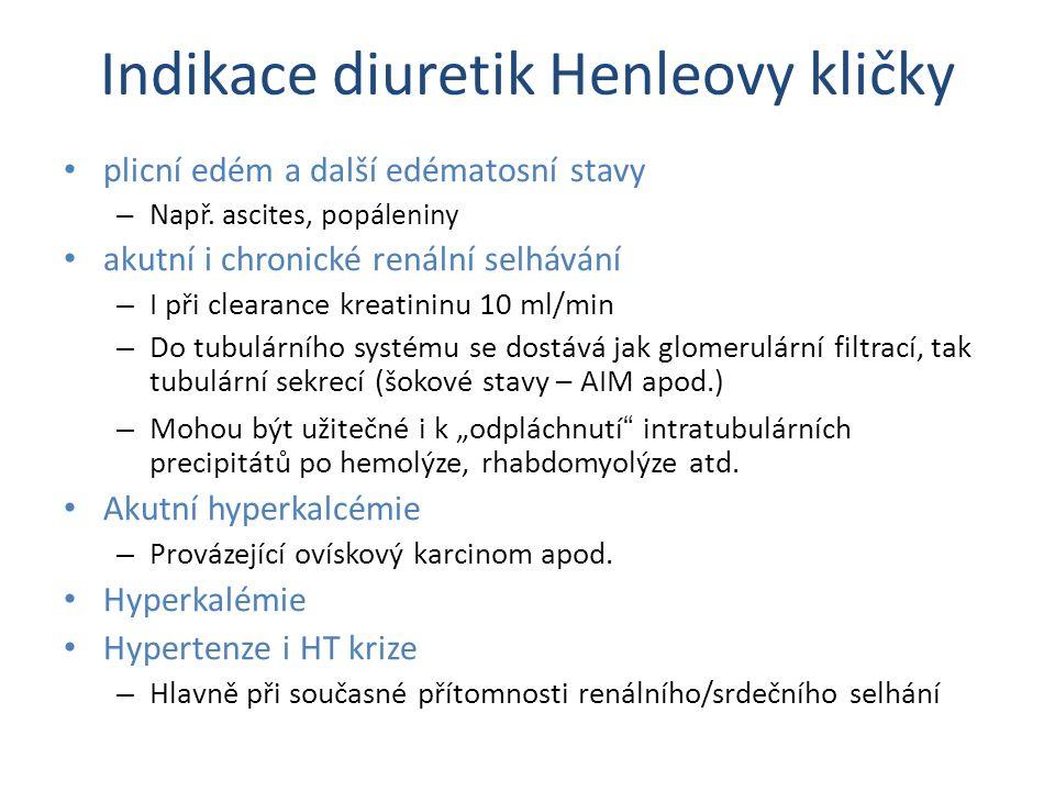 Indikace diuretik Henleovy kličky plicní edém a další edématosní stavy – Např. ascites, popáleniny akutní i chronické renální selhávání – I při cleara