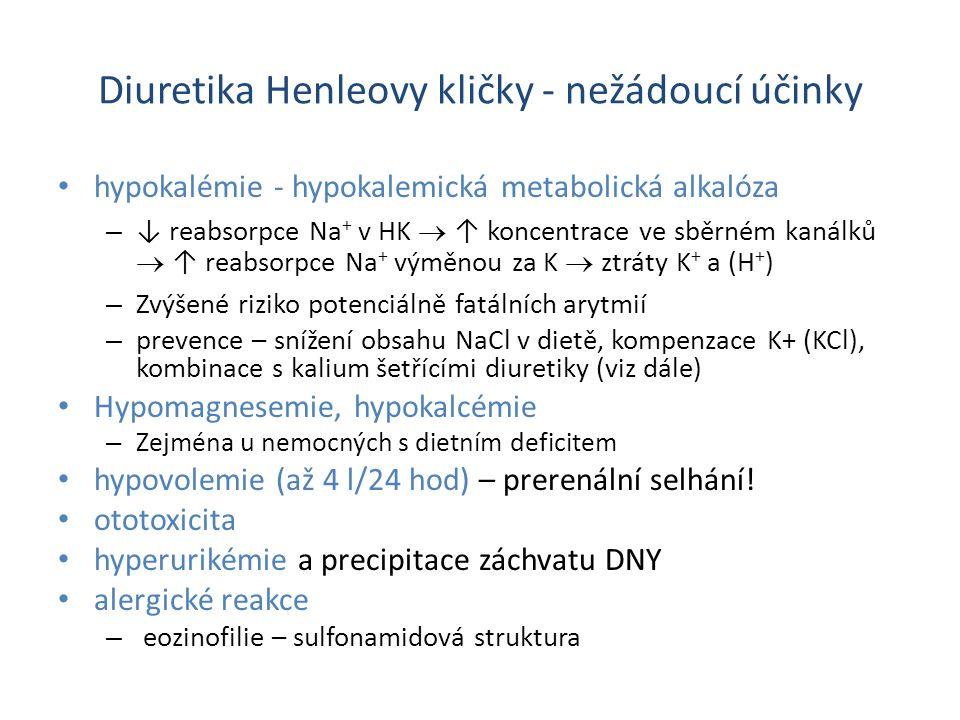 Diuretika Henleovy kličky - nežádoucí účinky hypokalémie - hypokalemická metabolická alkalóza – ↓ reabsorpce Na + v HK  ↑ koncentrace ve sběrném kanálků  ↑ reabsorpce Na + výměnou za K  ztráty K + a (H + ) – Zvýšené riziko potenciálně fatálních arytmií – prevence – snížení obsahu NaCl v dietě, kompenzace K+ (KCl), kombinace s kalium šetřícími diuretiky (viz dále) Hypomagnesemie, hypokalcémie – Zejména u nemocných s dietním deficitem hypovolemie (až 4 l/24 hod) – prerenální selhání.