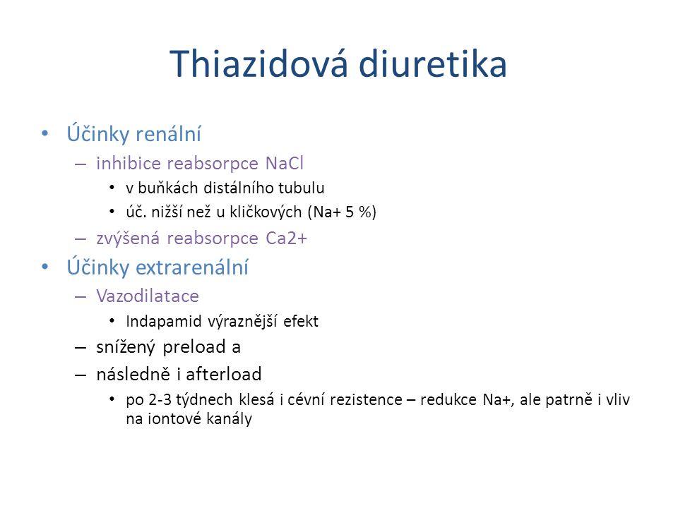 Thiazidová diuretika Účinky renální – inhibice reabsorpce NaCl v buňkách distálního tubulu úč. nižší než u kličkových (Na+ 5 %) – zvýšená reabsorpce C