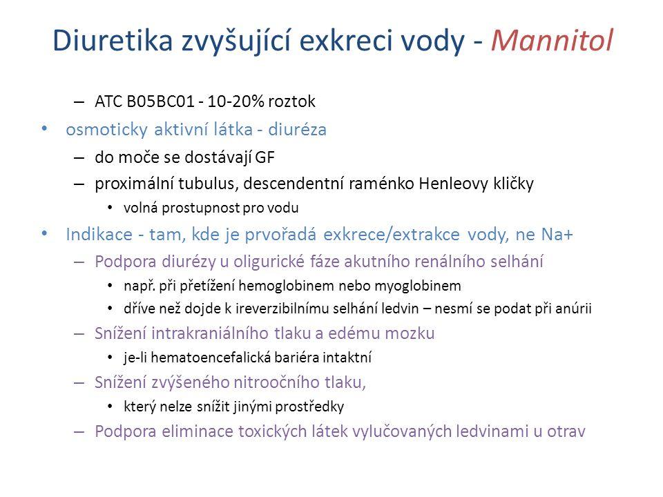 Diuretika zvyšující exkreci vody - Mannitol – ATC B05BC01 - 10-20% roztok osmoticky aktivní látka - diuréza – do moče se dostávají GF – proximální tubulus, descendentní raménko Henleovy kličky volná prostupnost pro vodu Indikace - tam, kde je prvořadá exkrece/extrakce vody, ne Na+ – Podpora diurézy u oligurické fáze akutního renálního selhání např.