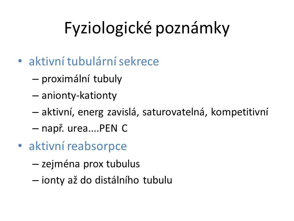 Fyziologické poznámky aktivní tubulární sekrece – proximální tubuly – anionty-kationty – aktivní, energ zavislá, saturovatelná, kompetitivní – např.