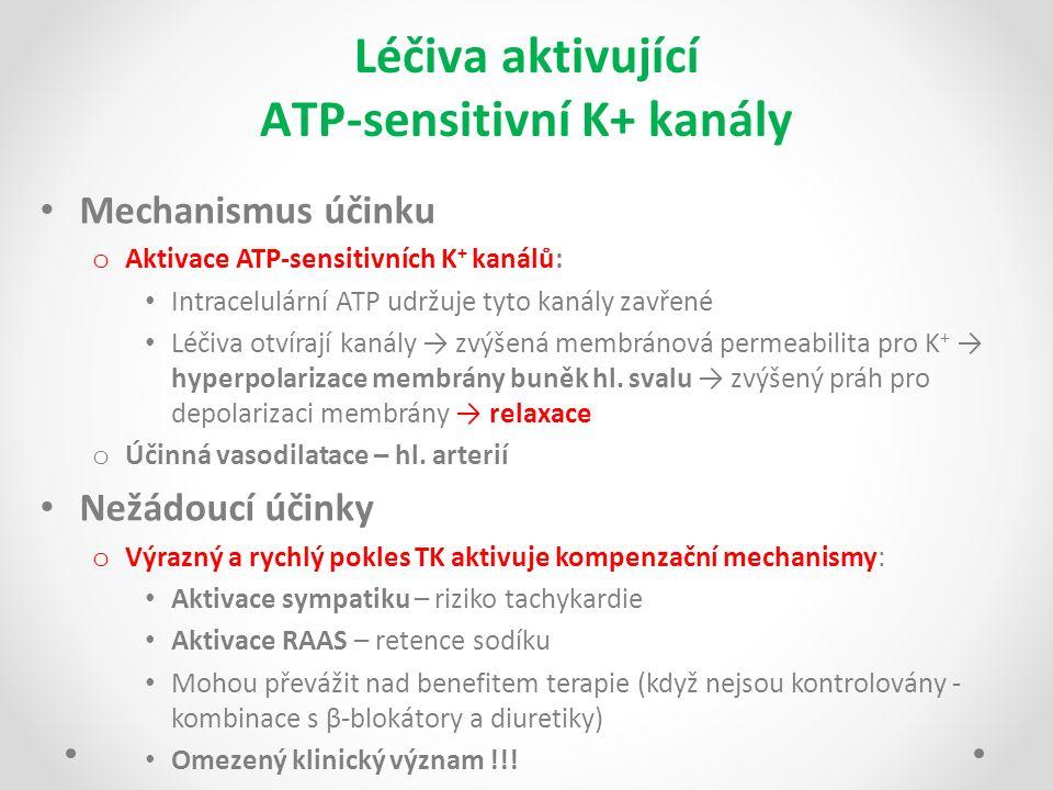 Léčiva aktivující ATP-sensitivní K+ kanály Mechanismus účinku o Aktivace ATP-sensitivních K + kanálů: Intracelulární ATP udržuje tyto kanály zavřené L