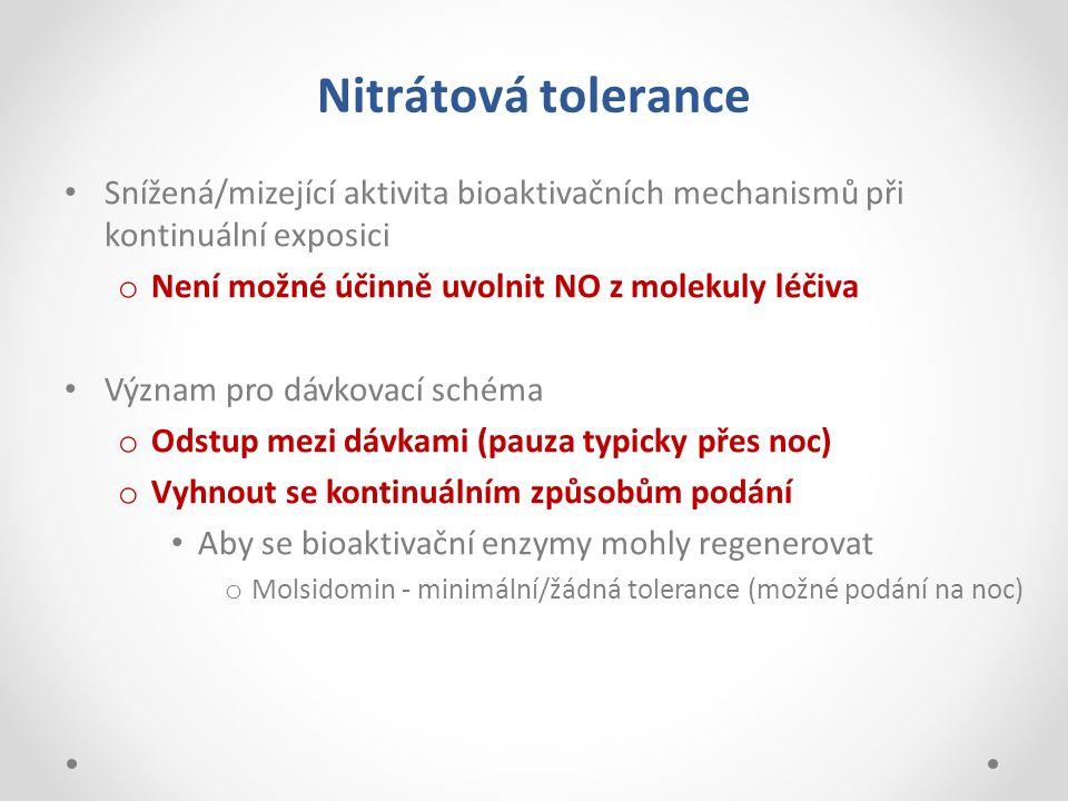 Nitrátová tolerance Snížená/mizející aktivita bioaktivačních mechanismů při kontinuální exposici o Není možné účinně uvolnit NO z molekuly léčiva Význ