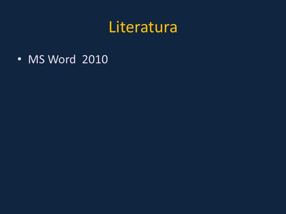 Literatura MS Word 2010