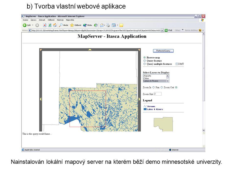 Nainstalován lokální mapový server na kterém běží demo minnesotské univerzity.