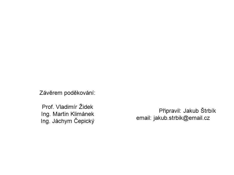 Závěrem poděkování: Prof. Vladimír Židek Ing. Martin Klimánek Ing.