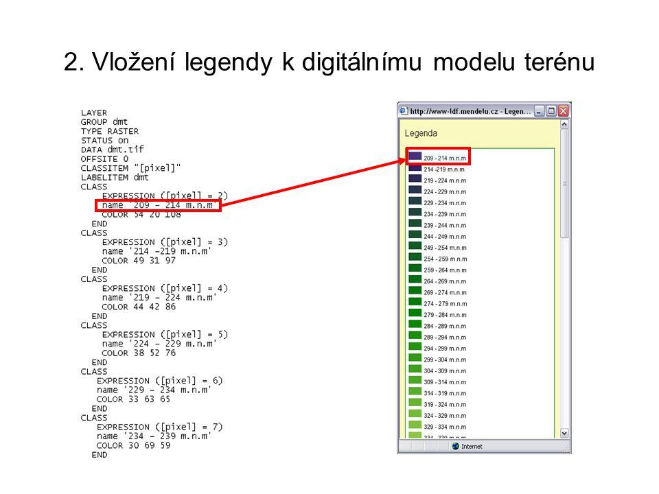 2. Vložení legendy k digitálnímu modelu terénu