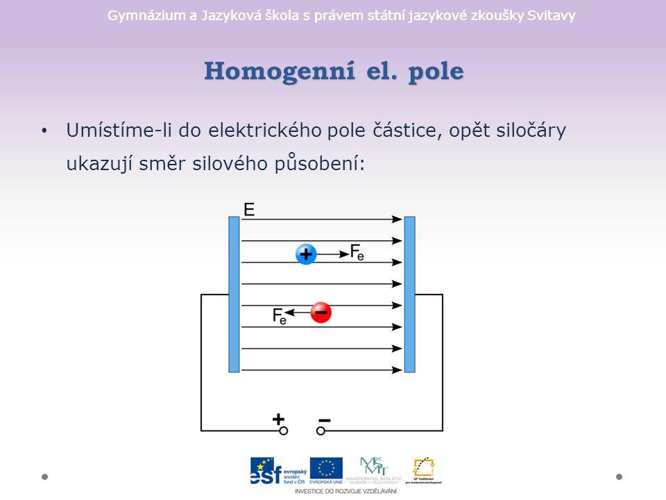 Gymnázium a Jazyková škola s právem státní jazykové zkoušky Svitavy Umístíme-li do elektrického pole částice, opět siločáry ukazují směr silového působení: Homogenní el.