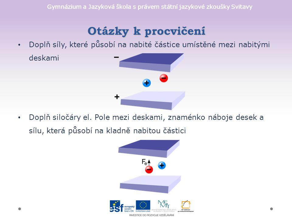 Gymnázium a Jazyková škola s právem státní jazykové zkoušky Svitavy Doplň síly, které působí na nabité částice umístěné mezi nabitými deskami Doplň siločáry el.