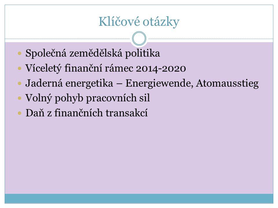 Klíčové otázky Společná zemědělská politika Víceletý finanční rámec 2014-2020 Jaderná energetika – Energiewende, Atomausstieg Volný pohyb pracovních sil Daň z finančních transakcí