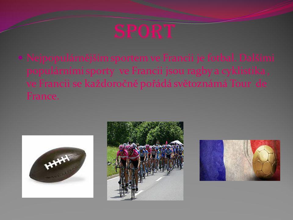 Sport Nejpopulárnějším sportem ve Francii je fotbal. Dalšími populárními sporty ve Francii jsou ragby a cyklistika, ve Francii se každoročně pořádá sv