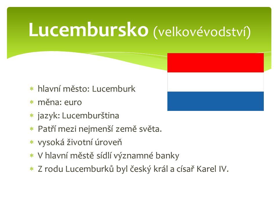  hlavní město: Lucemburk  měna: euro  jazyk: Lucemburština  Patří mezi nejmenší země světa.