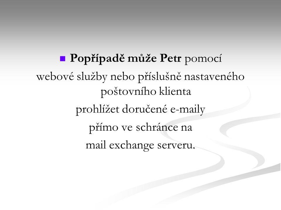 Popřípadě může Petr pomocí webové služby nebo příslušně nastaveného poštovního klienta prohlížet doručené e-maily přímo ve schránce na.