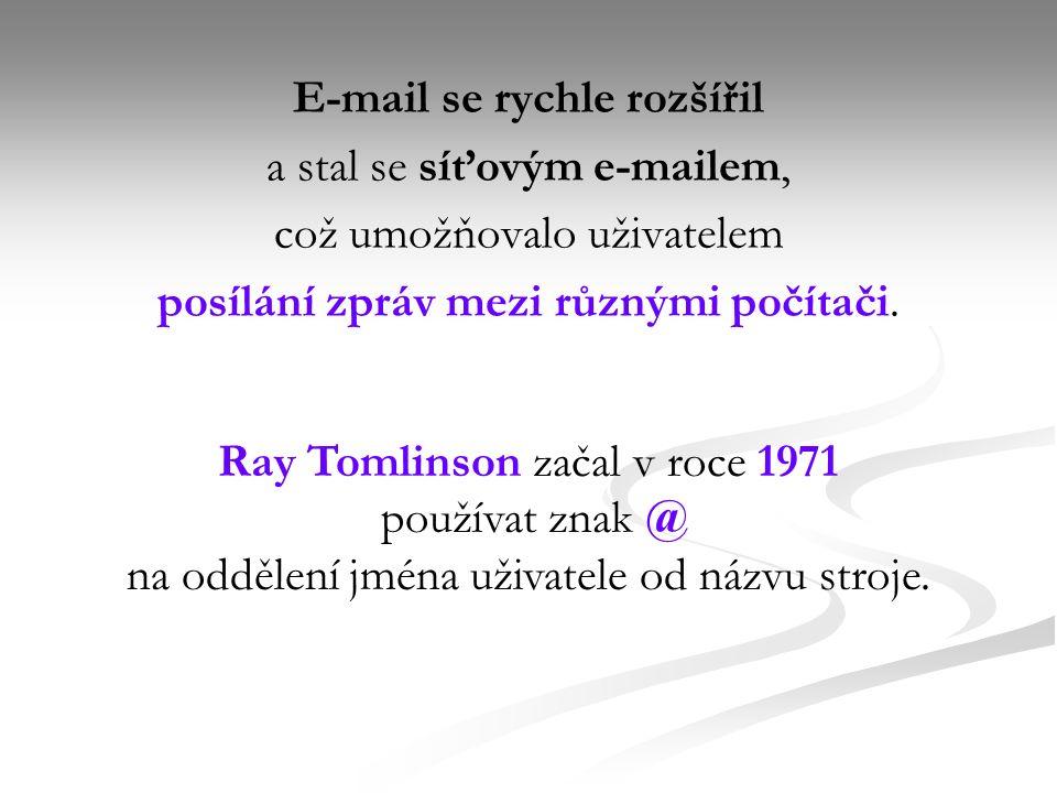 Používání e-mailu Typický sled událostí, který se uskuteční, když Jana napíše e-mail Petrovi: Jana napíše zprávu pomocí svého e-mailového klienta nebo ve formuláři webového rozhraní.