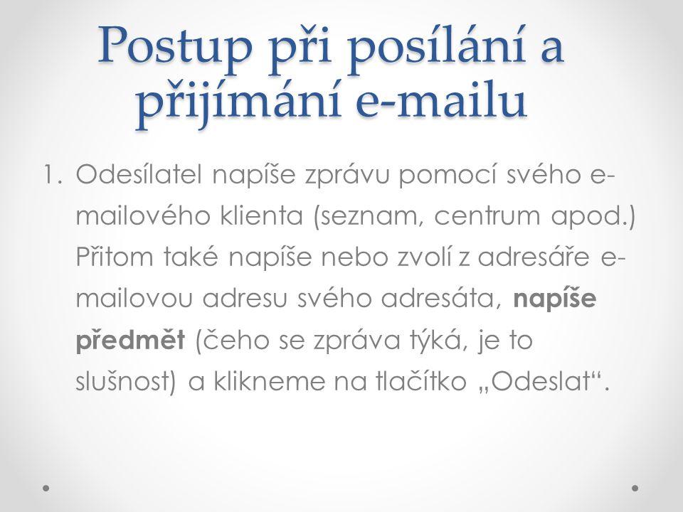 Postup při posílání a přijímání e-mailu 1.Odesílatel napíše zprávu pomocí svého e- mailového klienta (seznam, centrum apod.) Přitom také napíše nebo z