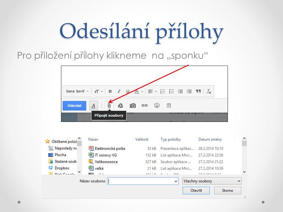 """Odesílání přílohy Pro přiložení přílohy klikneme na """"sponku"""""""