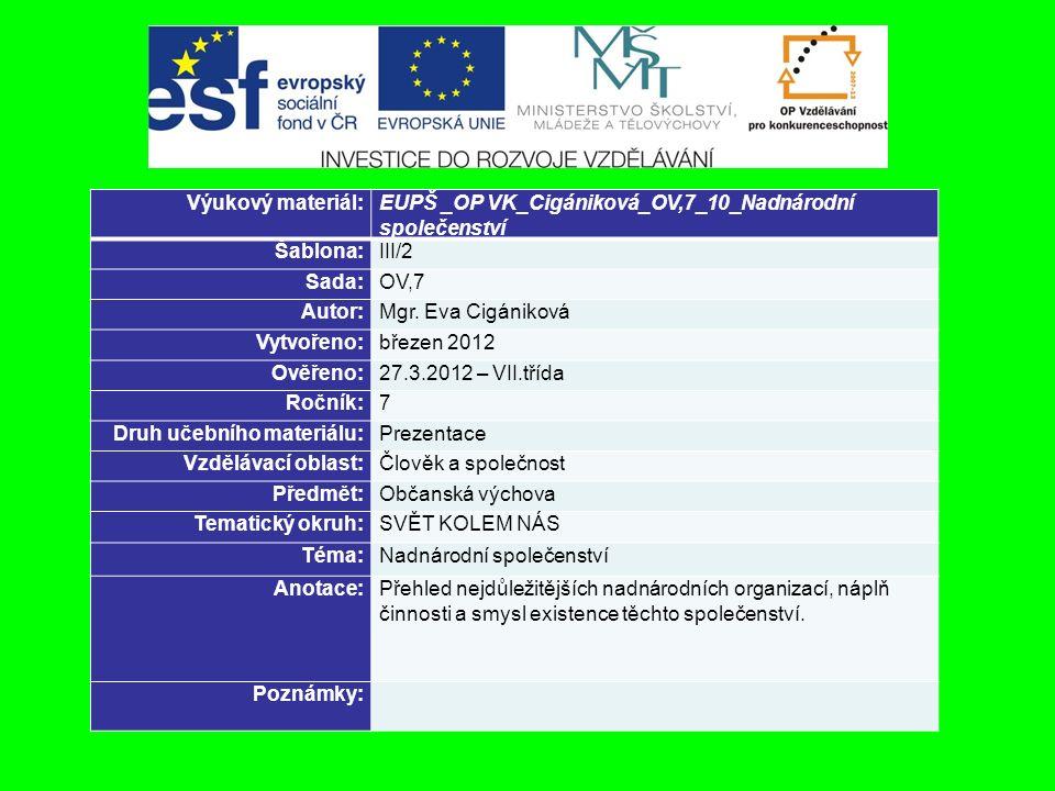 Výukový materiál:EUPŠ _OP VK_Cigániková_OV,7_10_Nadnárodní společenství Šablona:III/2 Sada:OV,7 Autor:Mgr.