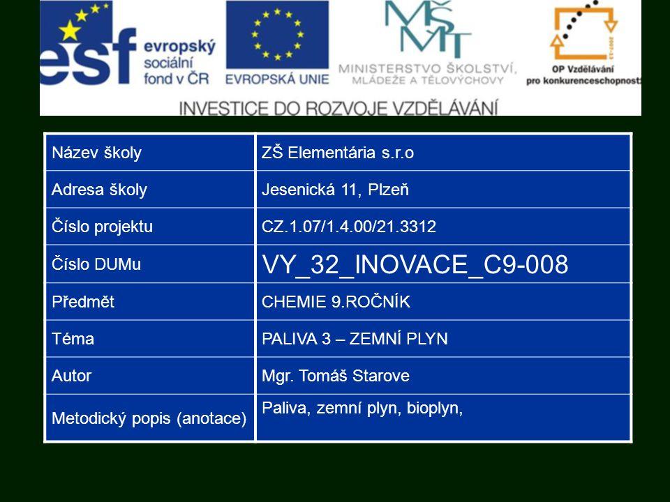 Název školyZŠ Elementária s.r.o Adresa školyJesenická 11, Plzeň Číslo projektuCZ.1.07/1.4.00/21.3312 Číslo DUMu VY_32_INOVACE_C9-008 PředmětCHEMIE 9.ROČNÍK TémaPALIVA 3 – ZEMNÍ PLYN AutorMgr.